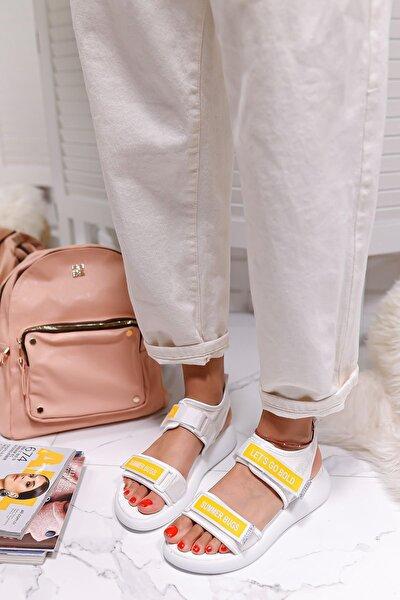 Kadın Beyaz Streç Cırt Detaylı Sandalet
