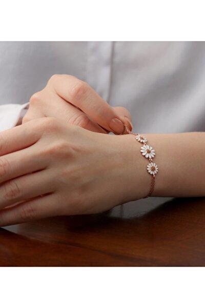 Kadın Rose 925 Ayar Gümüş Papatya Detaylı Bileklik