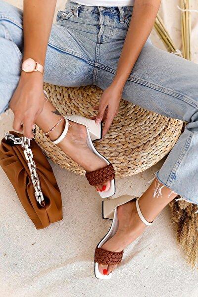 Kadın Beyaz Taba Örgülü Alçak Topuklu Sandalet