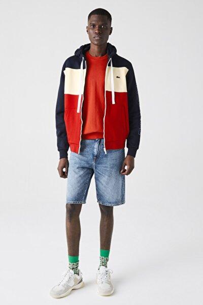 Erkek Fermuarlı Kapüşonlu Renk Bloklu Renkli Sweatshirt SH0177