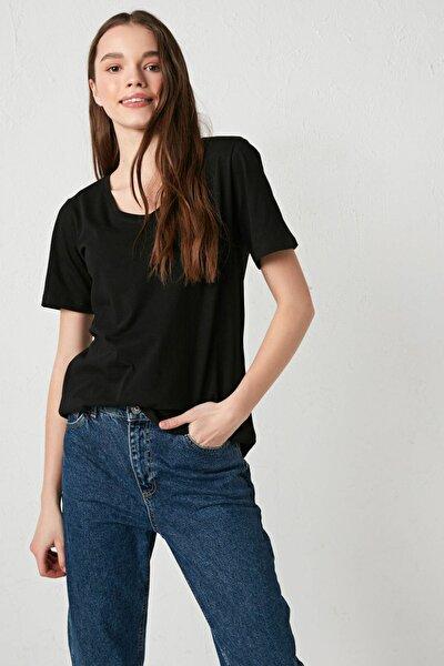 Kadın Yeni Siyah LCW Casual Tişört