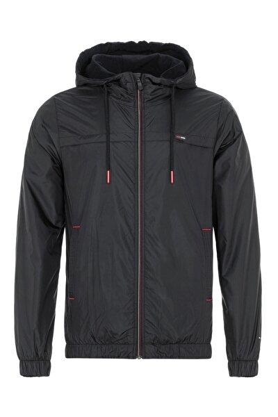 Erkek Siyah Suya Dayanıklı Kapüşonlu Içi Astarlı Cepli Yağmurluk - Rüzgarlık Ceket