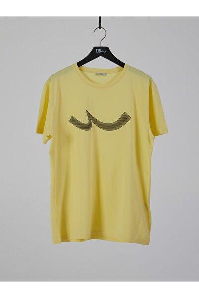 Erkek  Sarı  Baskılı  Kısa Kol Bisiklet Yaka T-Shirt 012208415960890000