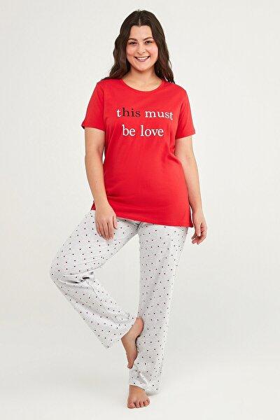 Kadın Çok Renkli Gift Lover Ss Pantalon Set