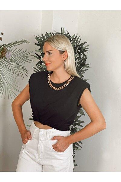 Kadın Yakası Zincirli Vatkalı T-Shirt