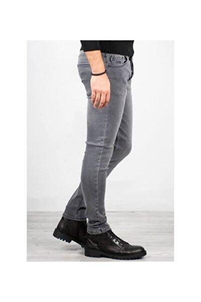 Gri Erkek Taşlanmış Jeans
