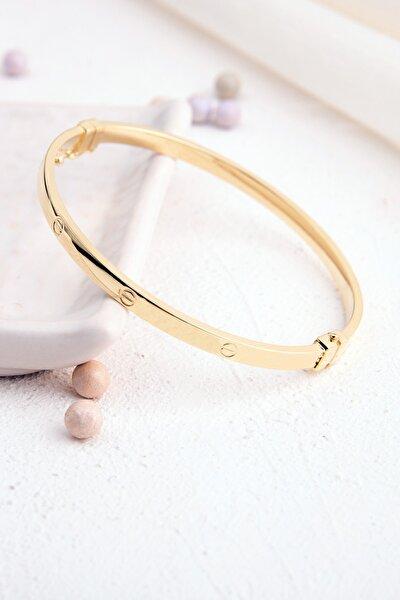 Cartıer Elişi Üretim Vidalı Model Gold Renk Kelepçe Gümüş Bilezik