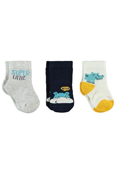 Erkek Bebek Gri Çorap 0-24 Ay 3'lü