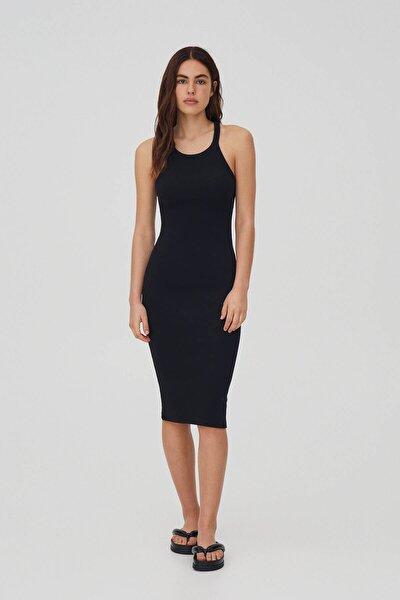Kadın Siyah Fitilli Basic Halter Yaka Elbise