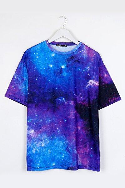 Galaksi Dijital Baskılı Oversize Unisex Tshirt
