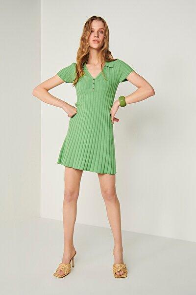 Polo Yaka Triko Elbise-yeşil