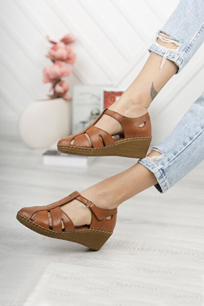 Hakiki Deri Kadın Günlük Dolgu Topuk Kapalı Sandalet