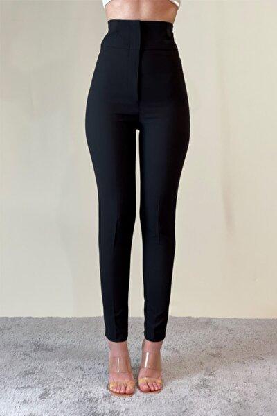 Siyah Ekstra Yüksel Bel Dar Paça Toparlayıcı Pantolon