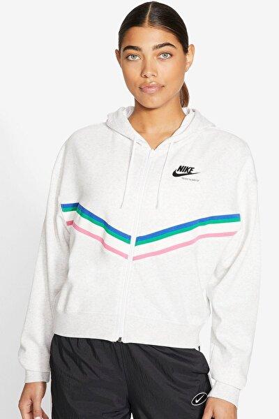 Heritage Full Zip Hoodie Bol Kesim Oversize Kısa Kadın Sweatshirt
