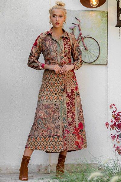 Kadın Taba Patchwork Desenli Yakalı Düğmeli Uzun Kol Dokuma Kuşaklı Gömlek Elbise M10160000EL94170