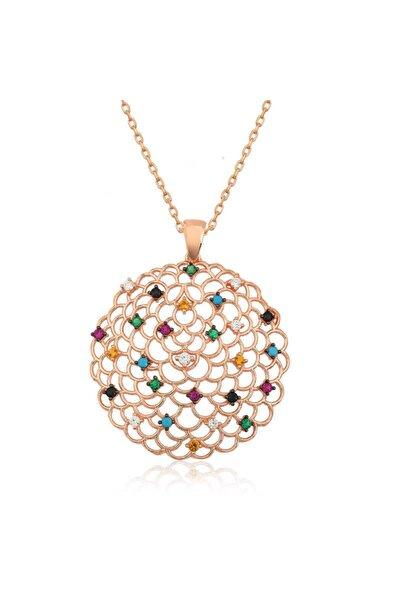 Geometrik Desenli Gümüş Madalyon Kolye