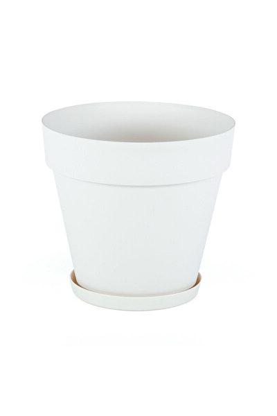 3 Litre 19çap 17,5boy Mat Kırık Beyaz Renk Dekoratif Plastik Saksı Yalı No3 Beyaz