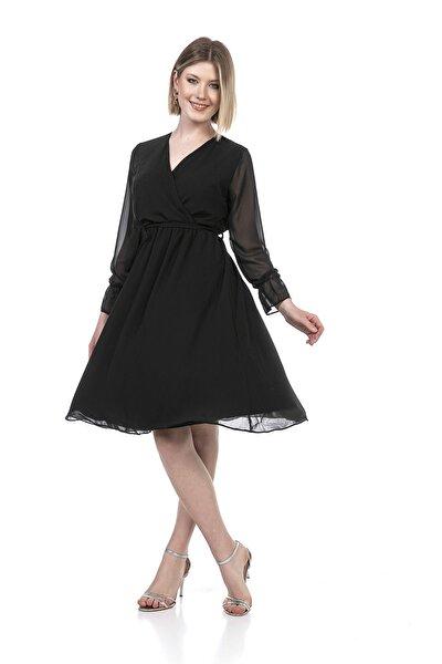 Kadın Siyah Kruvaze Yaka Kuşaklı Midi Şifon Elbise
