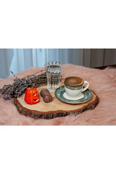 Lotus Porselen 6'lı Türk Kahvesi Fincan Takımı Koyu Yeşil