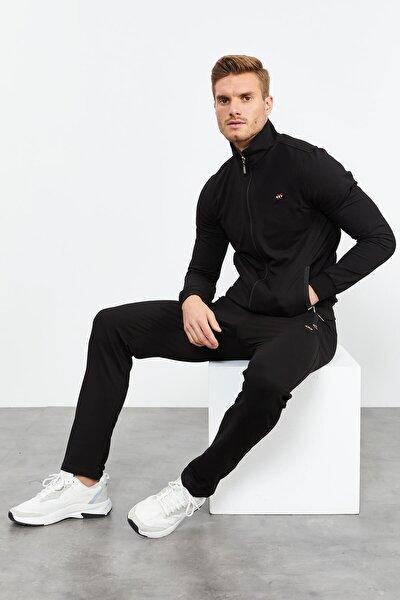 Siyah Erkek Dik Yaka Fermuarlı Slim Fit Klasik Paça Eşofman Takımı-85072