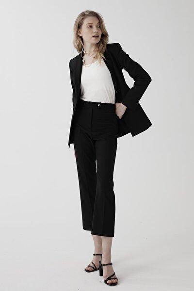 Kadın Siyah Yüksek Bel Kısa Boru Paça Pantolon