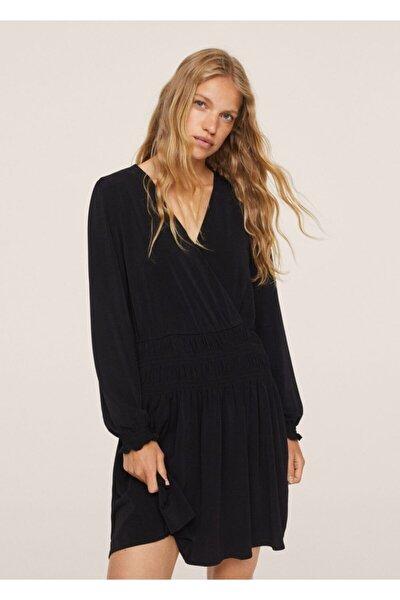 Kadın Siyah Anvelop Yakalı Uzun Elbise