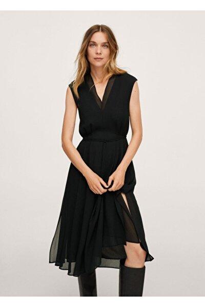 Kadın Siyah Kemerli Dökümlü Elbise
