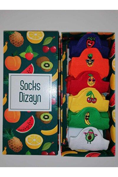 Meyva Nakışlı Renkli Spor Çorap 36-41