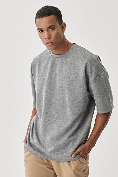 Erkek Gri Günlük Rahat Yuvarlak Yaka Kısa Kollu Oversize Sweatshirt