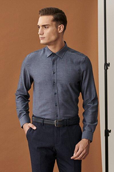 Erkek İndigo Slim Fit Klasik Yaka Armürlü İndigo Gömlek