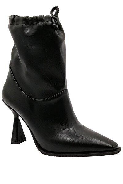Siyah Kadın Bağcıklı Topuklu Bot
