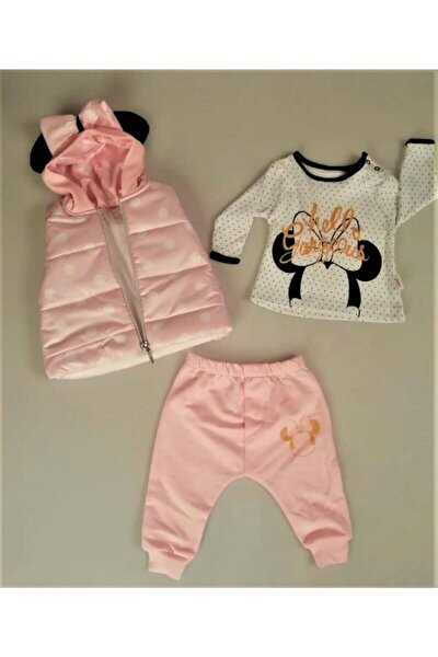 Yeni Sezon Kız Bebek Çocuk Kapüşonlu Yelekli Hello Desen Badili 3 Parça Takım-0313