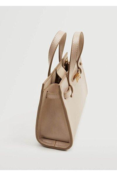 Kadın Kırık Beyaz Mini Shopper Çanta