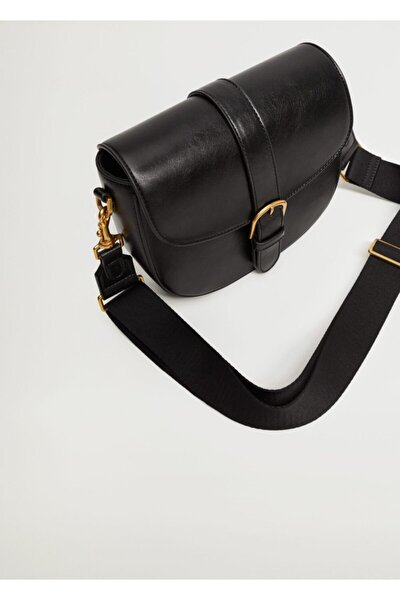 Kadın Siyah Kapağı Tokalı Çanta