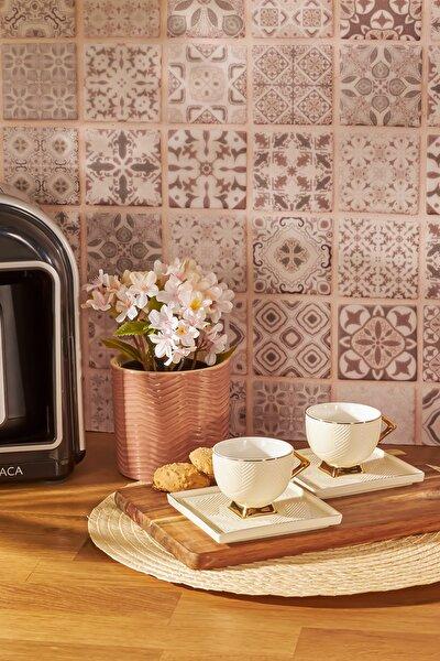 Art Deco Krem 2 Kişilik Kahve Fincanı Takımı