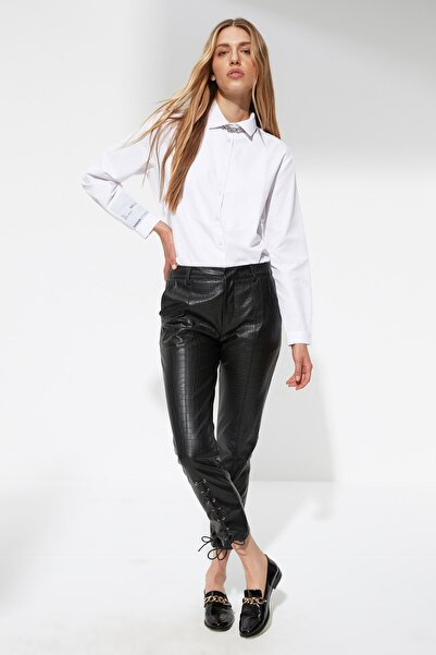 X Sagaza Studio Siyah Dokulu Deri Pantolon TPRAW22PL0590