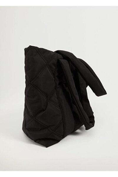 Kadın Siyah Kapitoneli Shopper Çanta