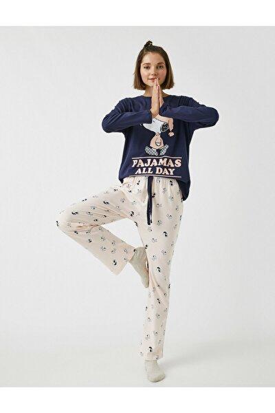 Snoopy Lisansli Baskili Uzun Kollu Pamuklu Pijama Takimi
