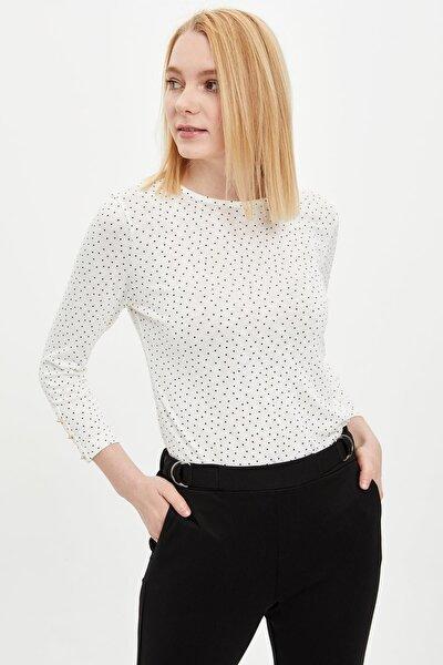 Kadın Ekru Puantiye Desenli Uzun Kollu Tişört R3672AZ20SPER