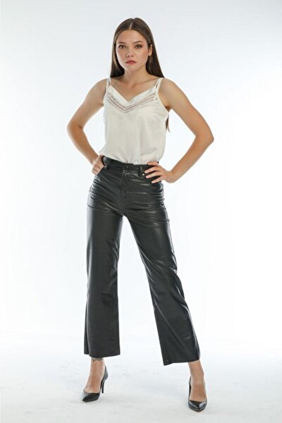 Kadın Siyah Deri Pantolon