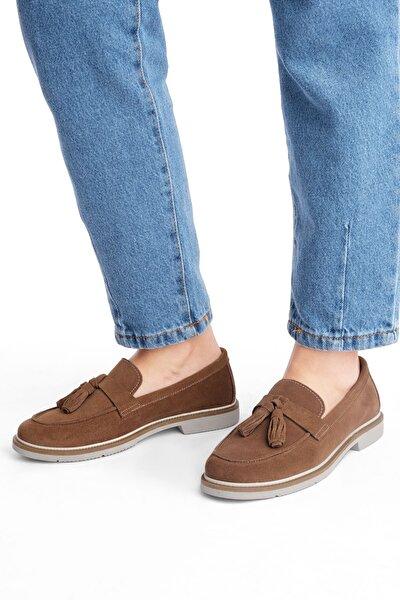Teksa Kadın Hakiki Deri Comfort Loafer Ayakkabıtaba Süet