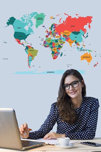 Dünya Haritası Akıllı Kağıt Tahta Yazı Tahtası Özel Baskı Renkli + Yazı Tahtası Kalemi 1 Adet