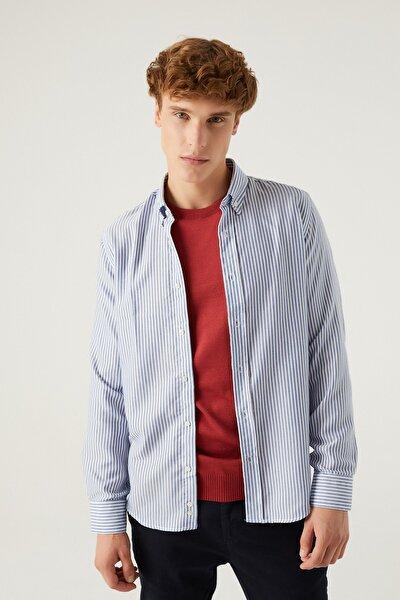 Slim Fit Mavi Çizgili Gömlek