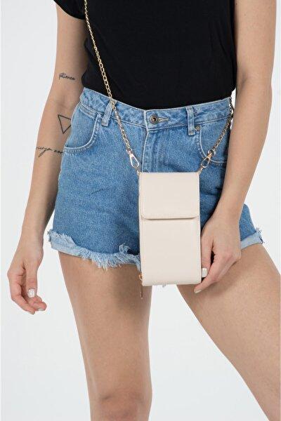 Kadın Bej Telefon Bölmeli Cüzdan Çantası
