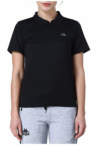 Kadın Siyah Polo Slim Fit T-shirt