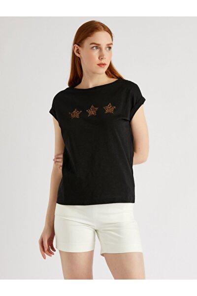 Kadın Siyah Kayık Yaka Japone Kol Baskılı Bluz 9113-0019