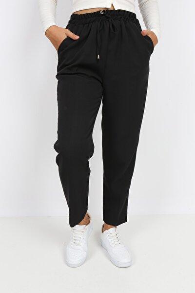 Kadın Siyah Double Kumaş Beli Lastikli Dar Paça Pantolon