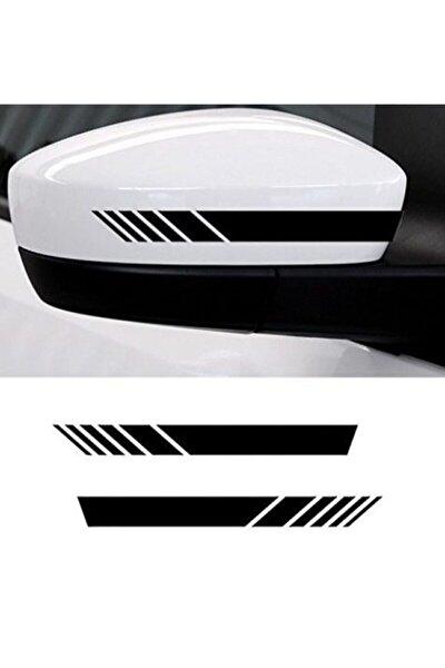 Yan Ayna Oto Şerit Sticker, Araba Sticker Siyah 6 Adet 15 X 2 Cm