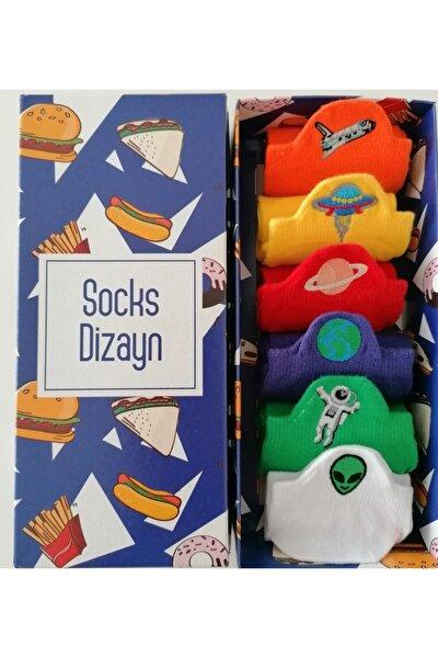 Uzay Nakışlı Renkli Spor Çorap 36-41