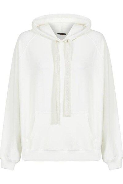 Unisex Ekru Kapüşonlu Kangru Cep Oversize Sweatshirt